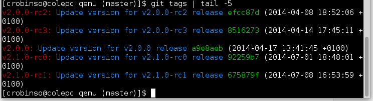 Example 'git tags' output
